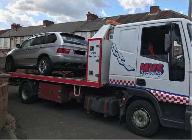 Police seize the vehicle in Askern.