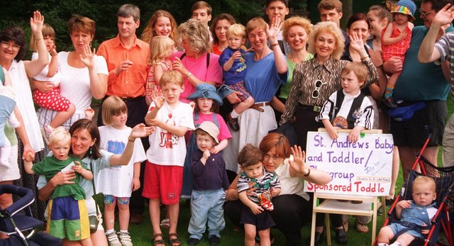Pictured at Endcliffe park in 1997 where St Andrew's toddler playgroup held a sponsored toddler to raise funds for St Luke's Hospice.