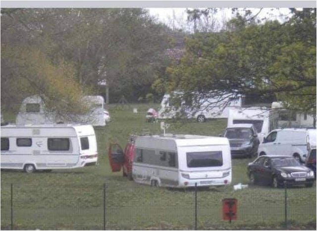 Sandall Park was used as a campsite by a group of travellers.