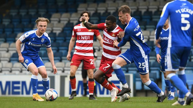 Omar Bogle in action for Rovers against Gillingham on Saturday