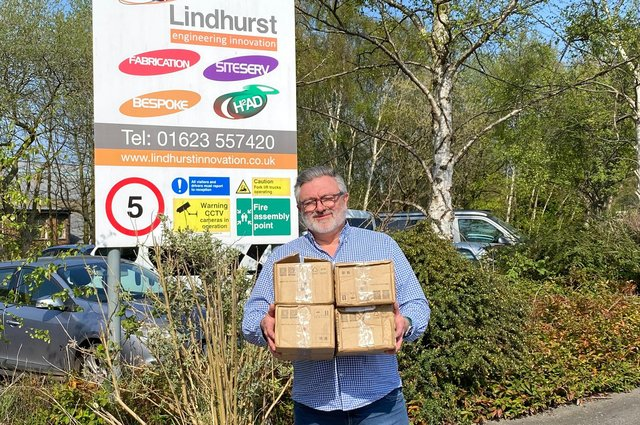 Martin Rigley MBE, managing director of Lindhurst Engineering Ltd in Sutton in Ashfield, with a donation of 1,000 masks from SDC Trailers in Mansfield.