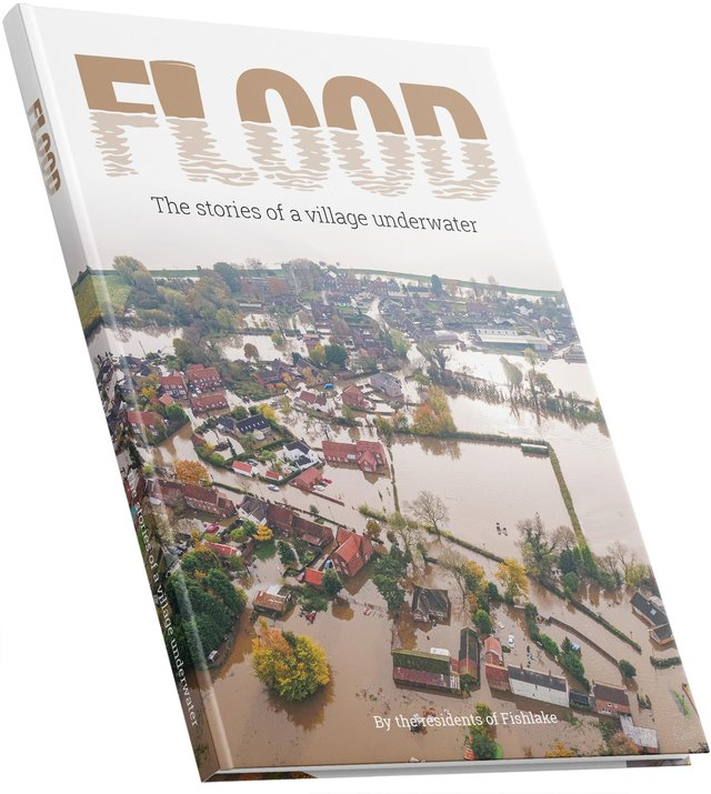 Residents of Fishlake produced a book documenting the flood which devastated their community. Pic by mockups-design.com