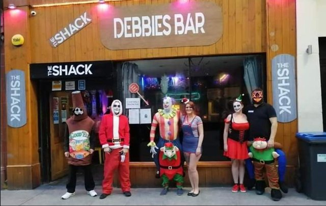Debbie's Bar customers at the bar's Christmas Halloween fun night just before second lockdown.