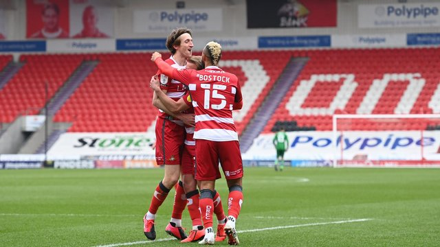 Tom Anderson celebrates his goal against Plymouth. Picture: Howard Roe/AHPIX