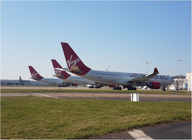 A number of Virgin Atlantic aircraft are currently being stored at Doncaster Airport.