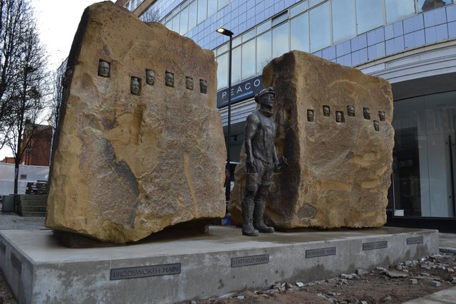 The miners memorial in Doncaster town centre