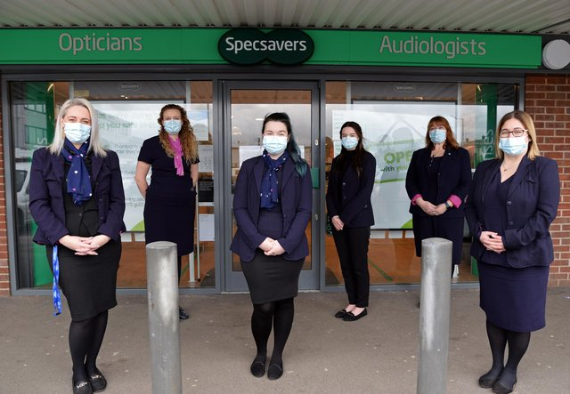 Members of staff at Specsavers Armthorpe have raised money for Oxygen for India appeal. Staff members Eleanor Blanshard, Optical Assistant, Jennifer Long, Director/Optometrist, Melanie Fletcher, Optical Assistant, Keely Warner, Optometrist, Jacqui Mead, Supervisor and Rachael Yeo, Admin Assistant,