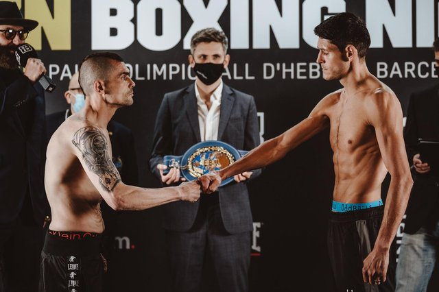 Gavin McDonnell meets opponent Andoni Gago in Barcelona. Picture: Matchroom Boxing