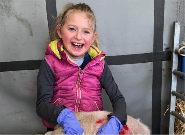 Haley Mason helping out on the farm.