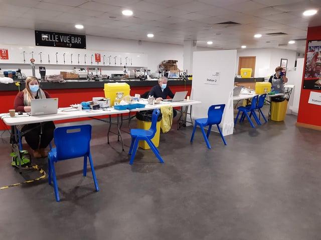The vaccine centre at Keepmoat Stadium