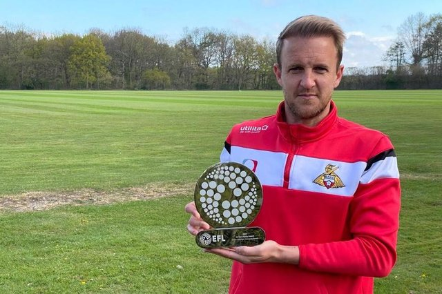 James Coppinger with the Sir Tom Finney Award