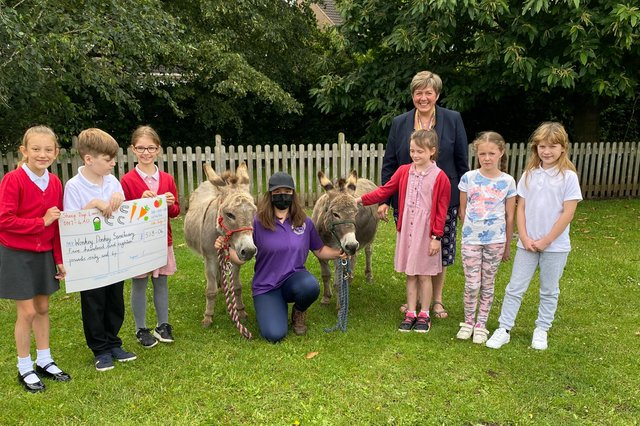 The academy raised money for the sanctuary and have now adopted their own donkey