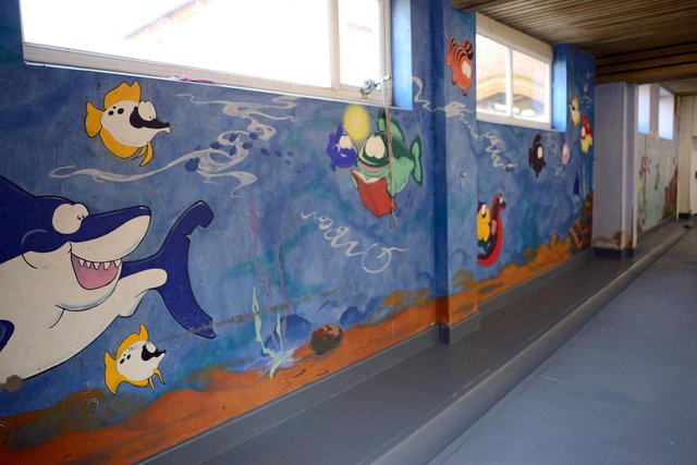 The Swiming Pool features wall murals which were painted in the late 90's. Picture: NDFP-04-02-20 Super Swimmers 6-NMSY