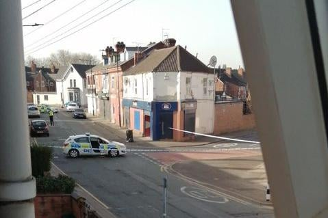 Police tape on Broxholme Lane.
