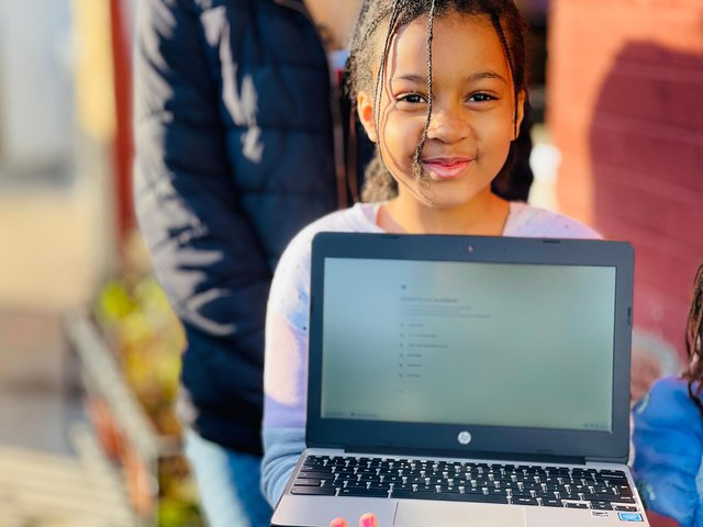 Rane Robinson is tackling her homeschooling with gusto after receiving a laptop from Laptops For Kids in Sheffield