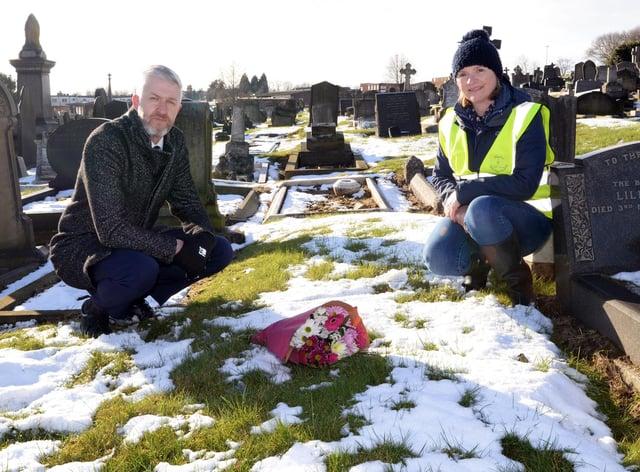 Matthew Delaney, Great Grandson of Joe and Helen Slade, of FOHPC, by the unmarked grave of Joe Duddington. Picture: NDFP-09-02-21-Duddington 3-NMSY