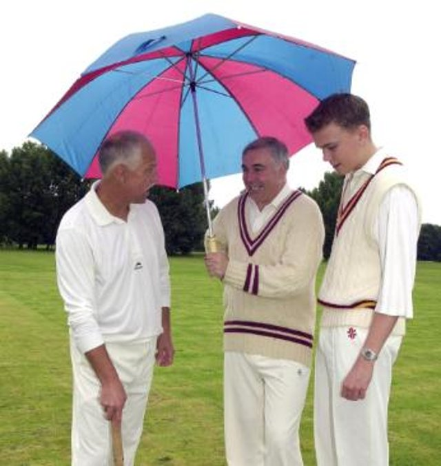 Doncaster cricket players hoping for a break in the rain so they can play in 2000.