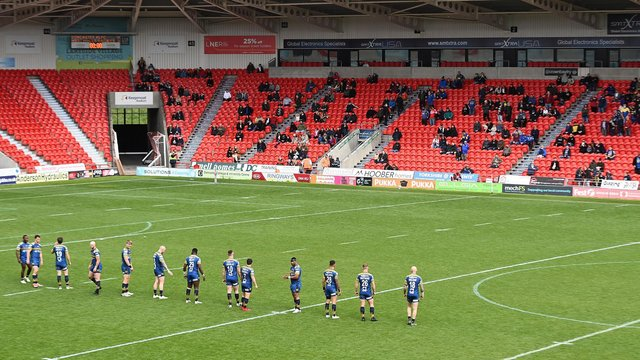 Spectators enter the Keepmoat Stadium for the first time in 14 months for the match between Doncaster RLFC and West Wales Raiders