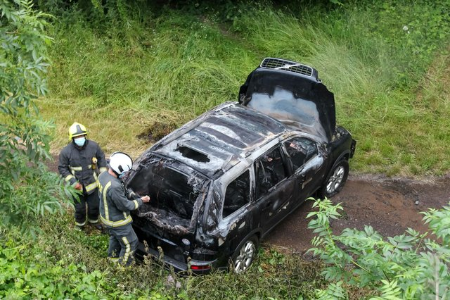 The remains of the car torched at 8.20pm on Coppice Road in Highfields last night. Photo by Tom Evans from Bentley