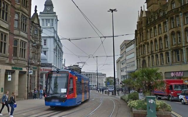 Supertram in Sheffield city centre