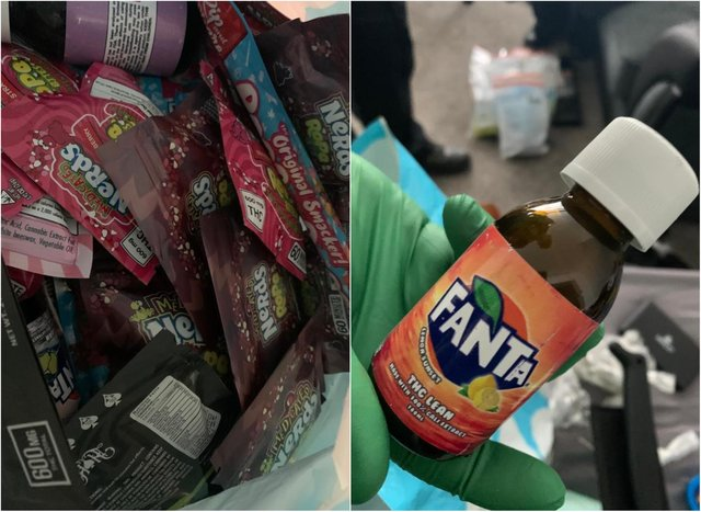 Police are analysing the sweets which were branded with Nerds and Fanta packaging.