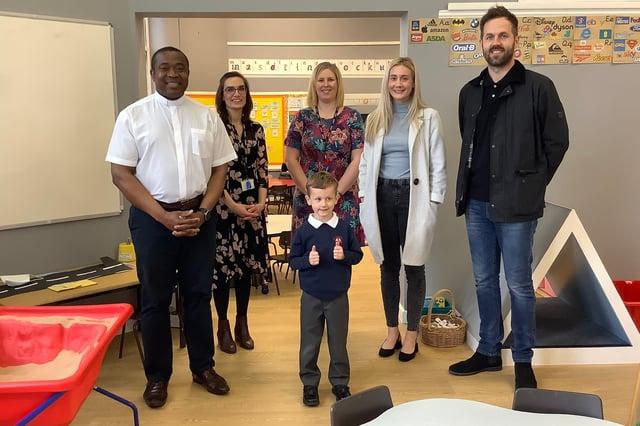 Euan, aged five, has raised £1,000 for his parish.