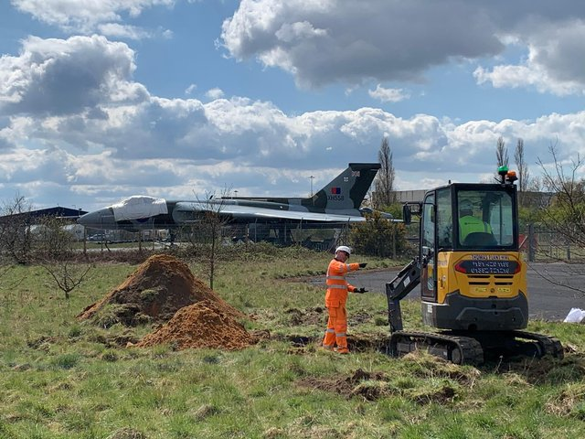 Work has started at Doncaster Sheffield Airport on the new Vulcan hangar. (Photo: VTTS).