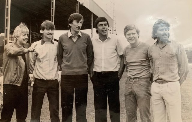 Ernie Moss (third from right) joined Rovers in the summer of 1983 along with Bill Green (third from left), John Breckin (second from right) and Andy Kowalski (right). Here they are pictured with the Snodin brother, Glyn and Ian.
