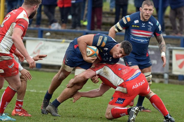 Guido Volpi, Doncaster's Argentinian forward, scored one of four tries at Hartpury. (Picture: Marie Caley)