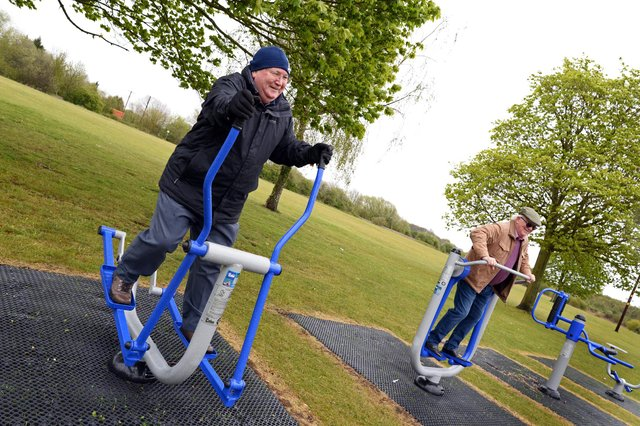 Askern Town Councillors Francis Jackson and John McLaughlin, pictured trying out the new Outdoor Exercise equipment that has been installed. Picture: NDFP-04-05-21-OutdoorGym 3-NMSY