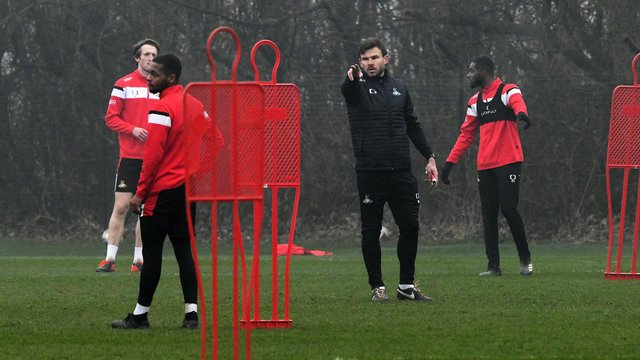 Andy Butler on the training ground with Rovers