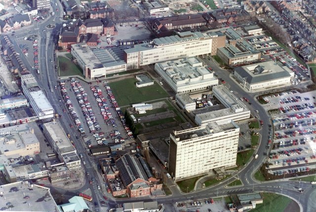 Aerial picture of Doncaster Waterdale showing the Doncaster College, Doncaster Magistrates Court, Doncaster Police Station and the former Council House