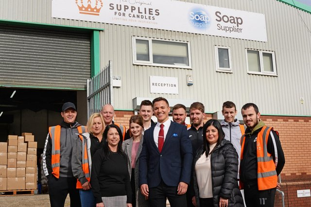 Company Director Nicky Story, pictured with staff members.  Picture: NDFP-22-10-19-SuppliesforCandles-1
