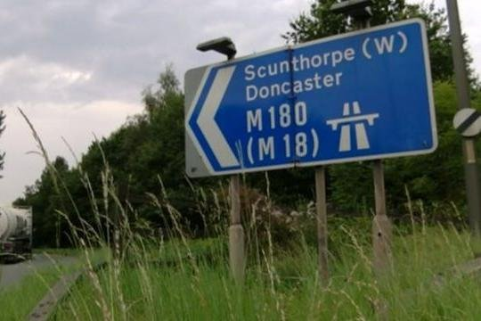 The westbound carriageway of the M180 is closed