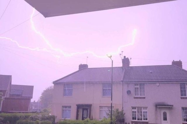 The storm lit up the sky making it look like daylight