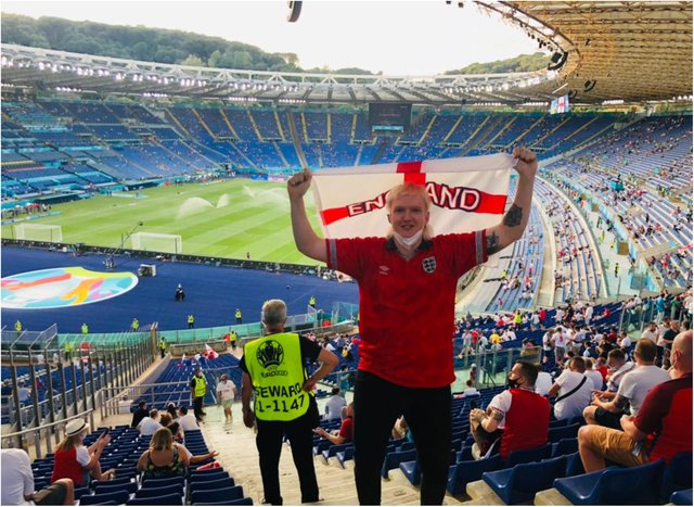 Joel Phillips from Doncaster was among the lucky England fans who made it to Saturday's game in Rome. (Photo: Joel Phillips).