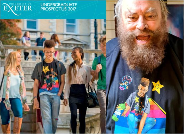 Actor Brian Blessed teamed up with Jim'll Paint It to surprise Exeter University student Ben. (Photos: Jim'll Paint It/Exeter University).