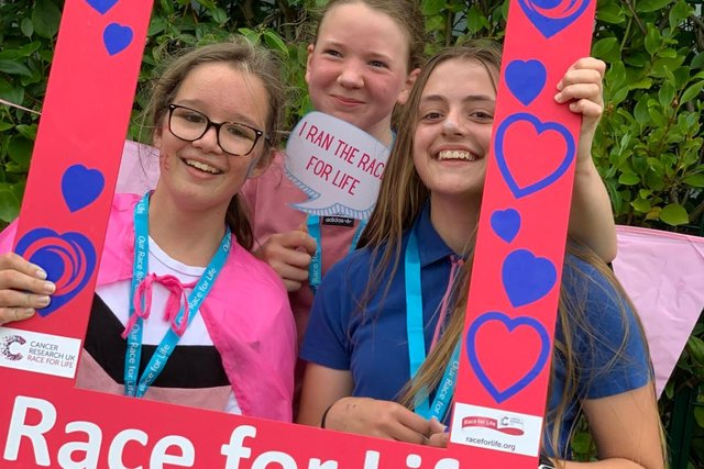 Charlie Foster Thomlinson, Ellie Jenkinson, Charlotte Dallamore completed Race for Life