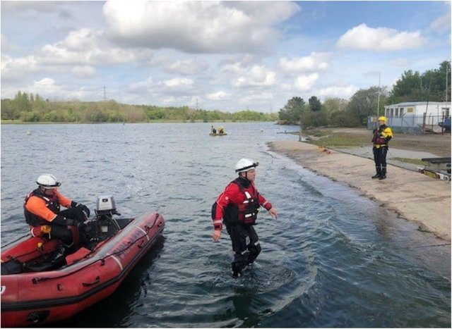 Crews take part in a training exercise at Rother Valley.