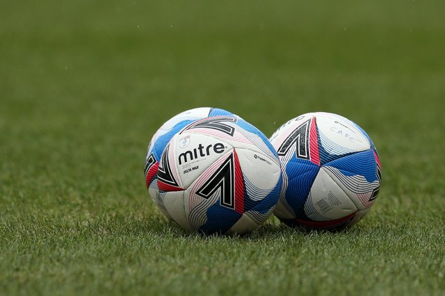 A detailed view of the Mitre Delta Max EFL match ball prior to a Sky Bet League One match.