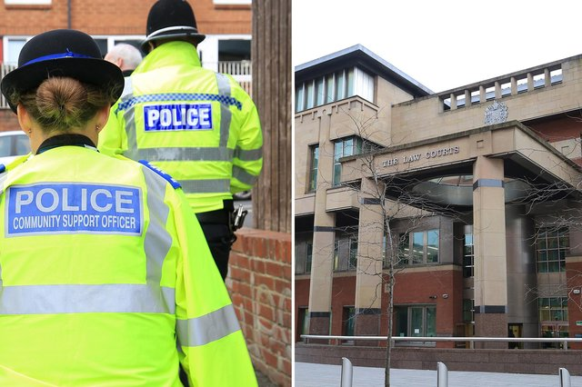 Sheffield Crown Court, pictured, heard how a menacing neighbour has been jailed after he harassed and threatened an elderly South Yorkshire couple.