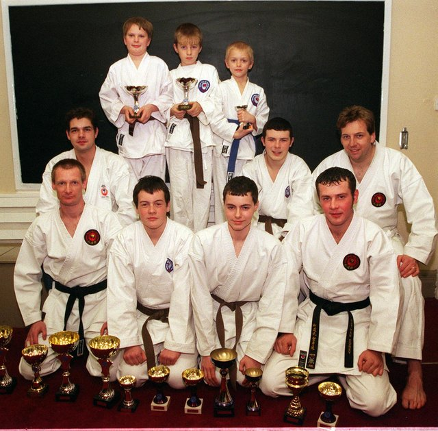In 1999 the Doncaster Karate Club won 9 Gold place 4 seconds and several 3rd places at a National open championship in Nottingham. Pictured back row from the left, Michael Marshall, Andrew Brownless, Thomas Padley, Robert Marshall, Wayne Auke, Andrew Genery Instructor. Font row from the left; Nigel Turvey, Adam Wilson, John Unwin, Nathan Doney.
