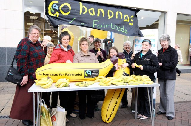 Doncaster Fair Trade Campaigns outside Primary in town and take part in a world record fair trade banana eating session in honour of Fair Trade fortnight in 2009