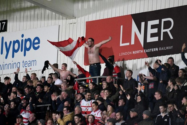 Rovers fans in the South Stand