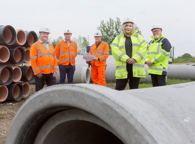 Mick Carter of Fulcrum, Alistair McLoughlin of Waystone Hargreaves Land LLP, David Bend of Hargreaves Land, Deborah Heary and Andrew Cook of Fulcrum on site at Unity