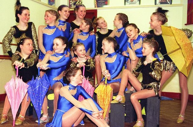 Jackie Everton dancers performing at the Magic Fun House show. Doncaster Civic Theatre in 1997.