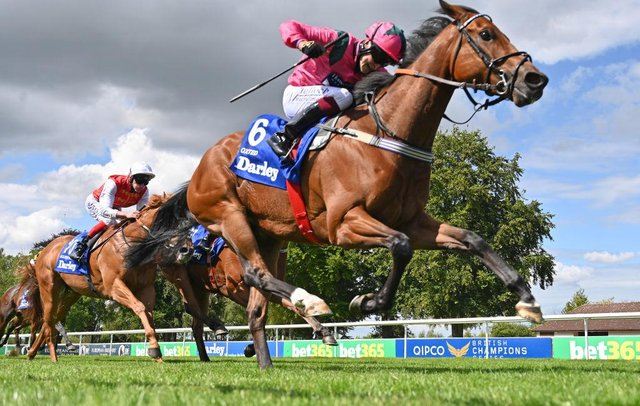 Oxted ridden by jockey Cieren Fallon wins the Darley July Cup Stakes at Newmarket last year. Photo by Hugh Routledge/Pool via Getty Images