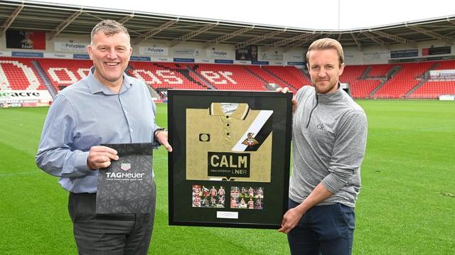 Gavin Baldwin with Rovers adviser James Coppinger