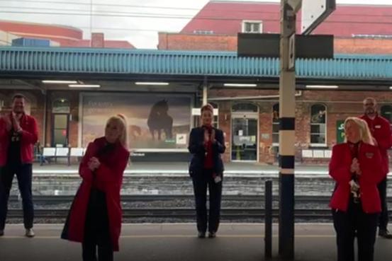 LNER staff took part in the clap for carers on Doncaster Station's platform