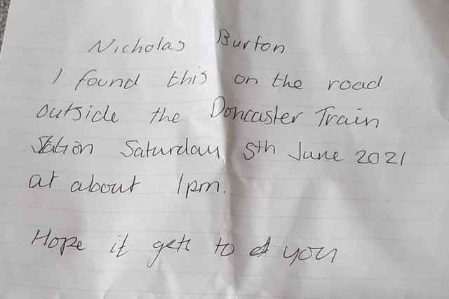 Nick Burton is searching for the kind stranger who left him this note.